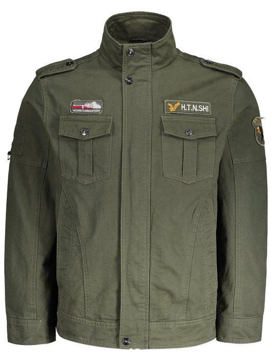 Chaqueta para hombre bordada del remiendo - Verde del ejército M