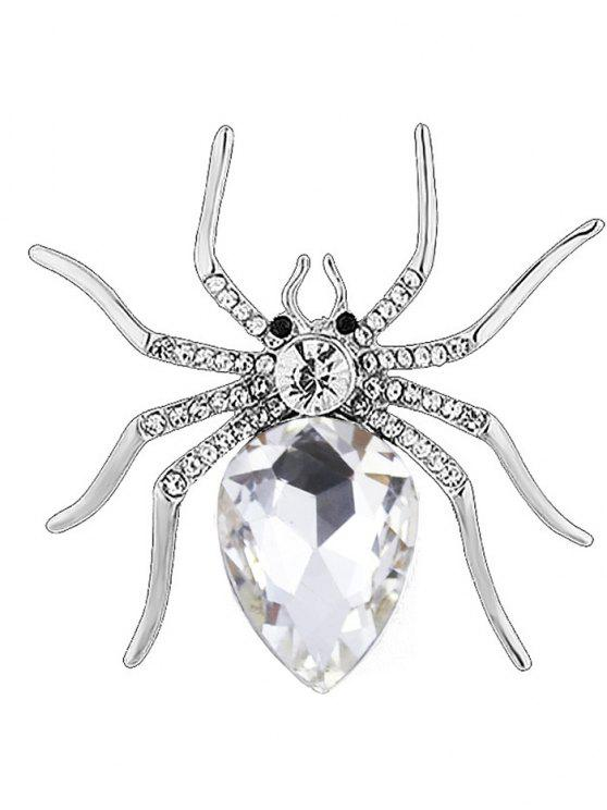 Rhinestone Spider Shape Alloy Brooch - Branco