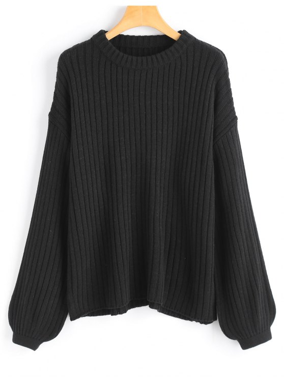 Lantern Sleeve Oversized Pullover Sweater BLACK: Sweaters ONE SIZE ...