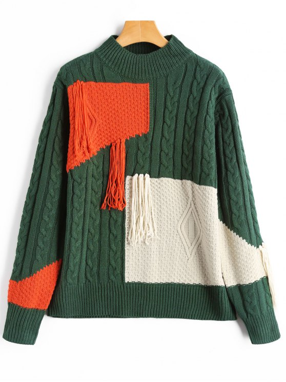 2018 Fringe Patchwork Cable Knit Sweater In Blackish Green One Size
