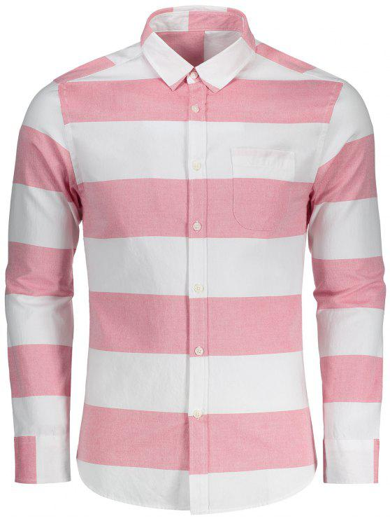 best Button Down Striped Shirt - RED AND WHITE 2XL