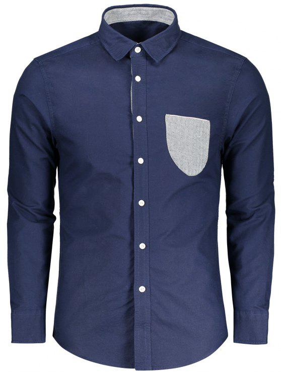 buy Button Up Pocket Shirt - BLUE 2XL