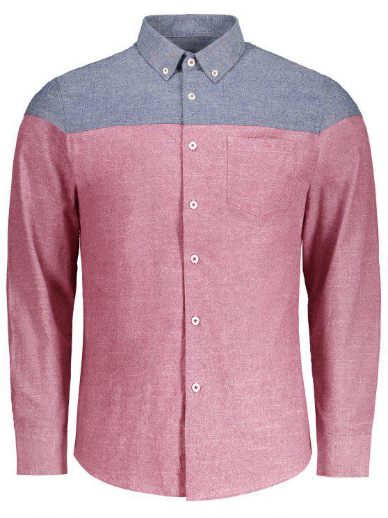 Knopf-unten Taschen-Farben-Block-Hemd - Rot 3XL