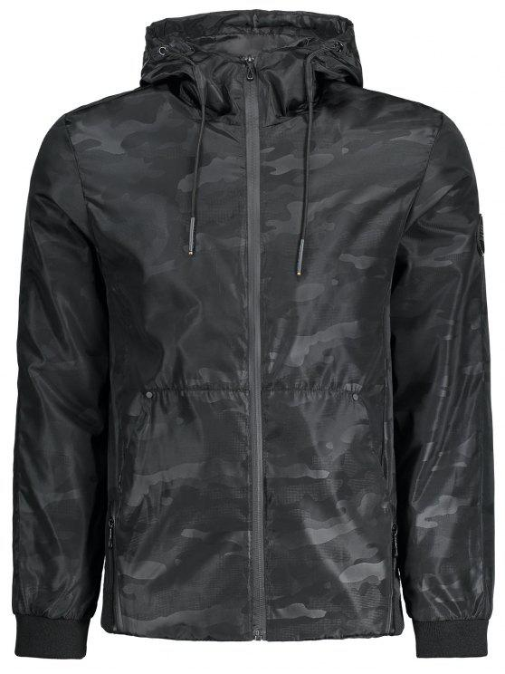 Chaqueta con capucha de viento de camuflaje - Negro 4XL