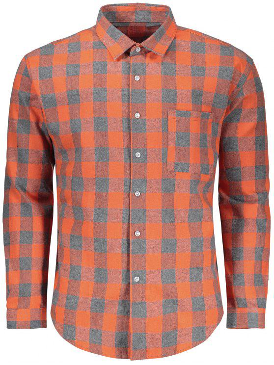 outfit Checked Button Up Shirt - GREY AND ORANGE L