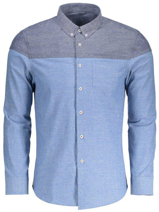 fashion Pocket Button Down Color Block Shirt - LIGHT BLUE 2XL