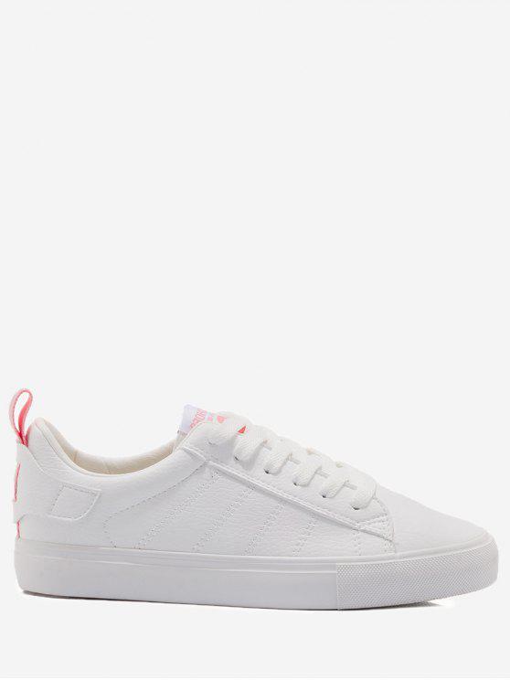 Zapatos de skate de costura con estampado de letras - Rosa y Blanco 38