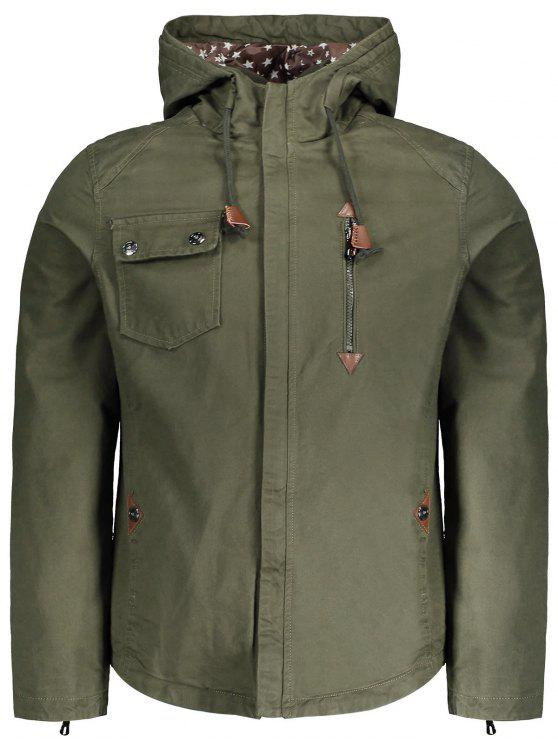 best Zippered Cuffs Hooded Jacket - ARMY GREEN XL