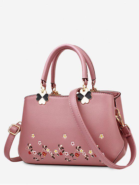 La bolsa de asas de la flor del metal del bordado - Rosa