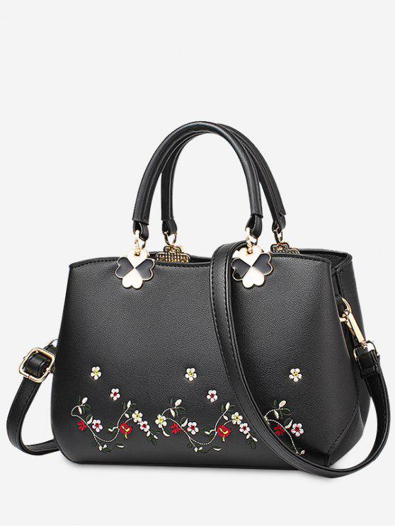 sale Embroidery Metal Flower Tote Bag - BLACK