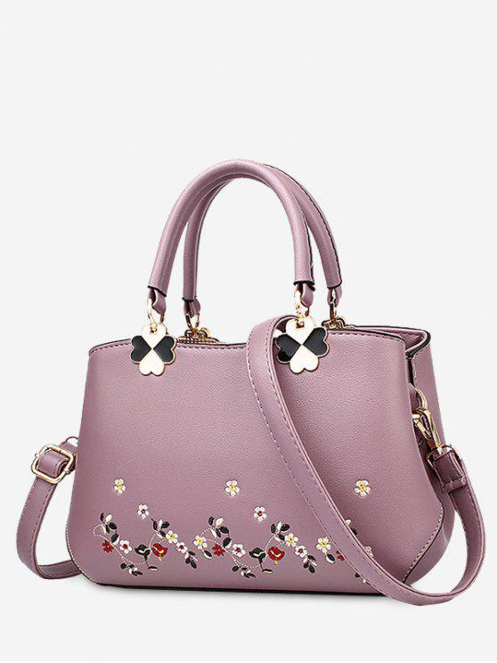 women Embroidery Metal Flower Tote Bag - PURPLE