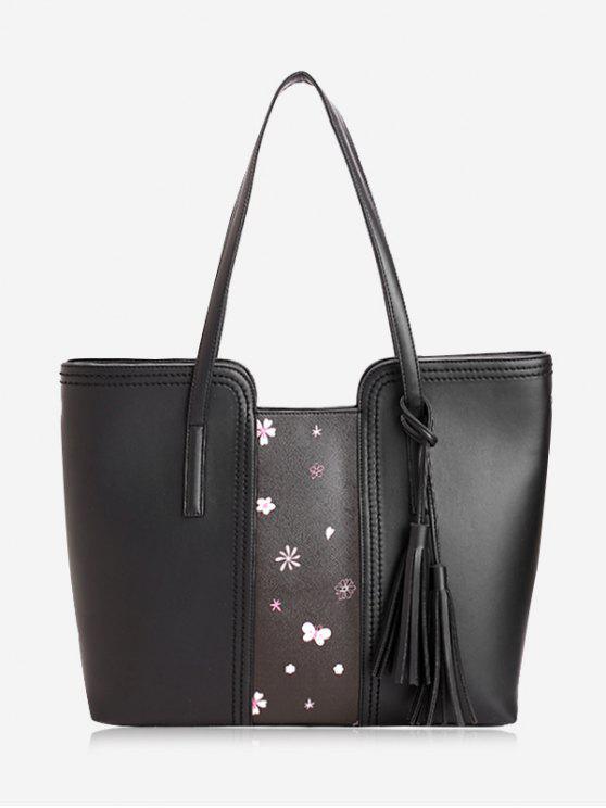 outfits Tassel Butterfly Flower Print Shoulder Bag - BLACK