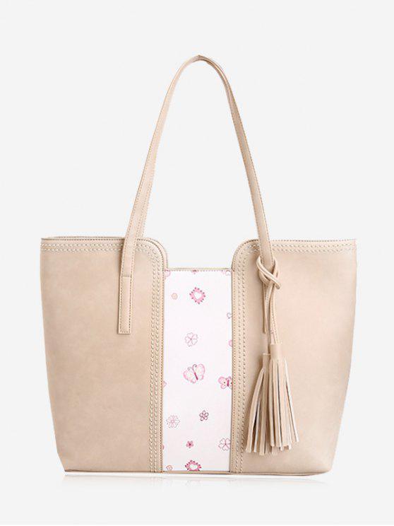 latest Tassel Butterfly Flower Print Shoulder Bag - BEIGE