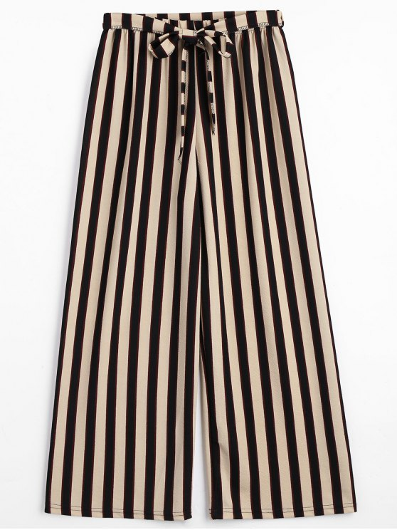 chic Belted Striped Pants - STRIPE ONE SIZE