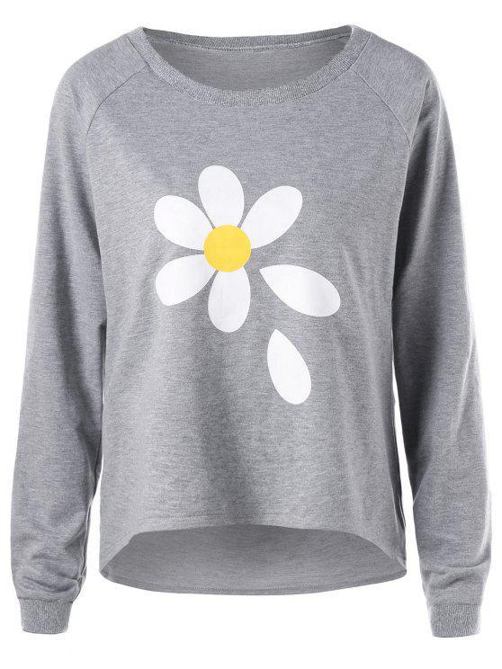 lady Raglan Sleeve Dip Hem Sweatshirt - GRAY S