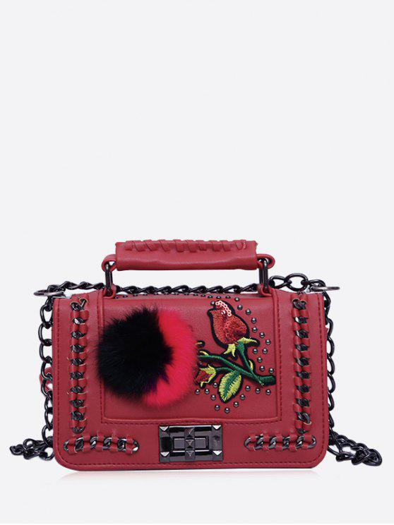 Bolsa de Crossbody de la cadena de Pom Pom del bordado - Rojo