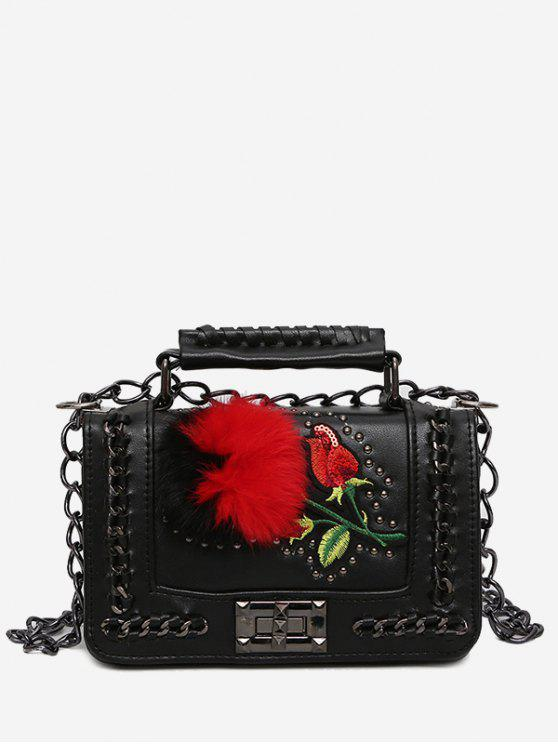 women's Embroidery Pom Pom Chain Crossbody Bag - BLACK