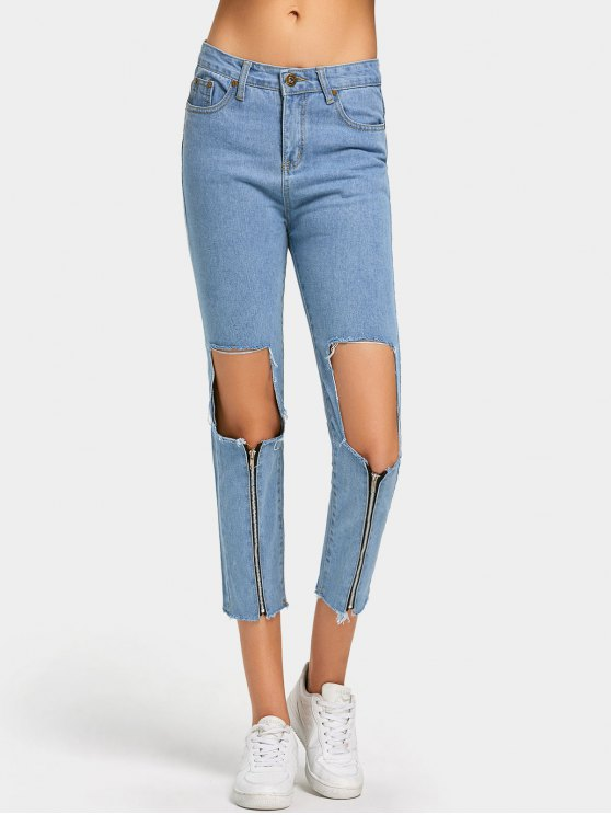 online Zipper Embellished Cut Out Frayed Jeans - LIGHT BLUE M