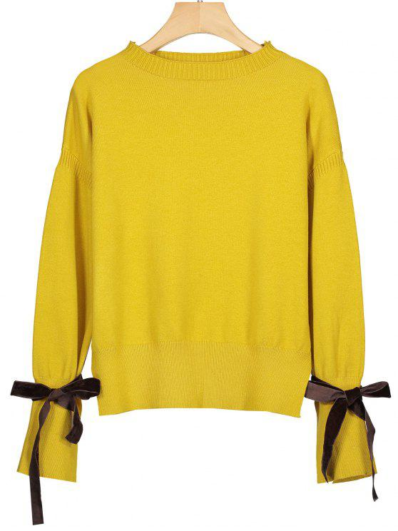 latest Pullover Bow Tied Sleeve Sweater - YELLOW ONE SIZE