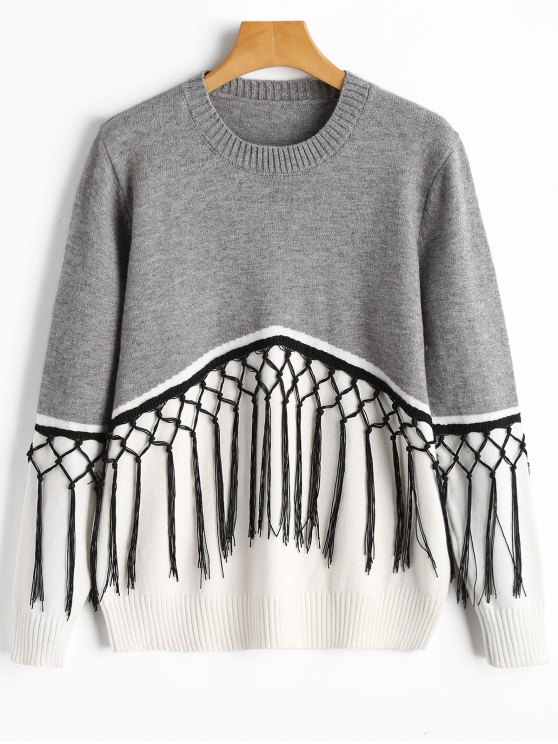 fancy Crew Neck Fringe Two Tone Sweater - GREY AND WHITE ONE SIZE