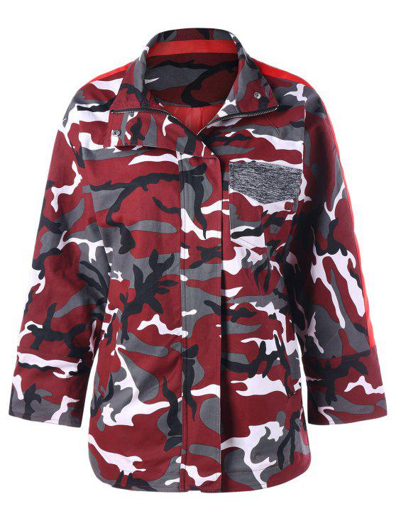 Zip Up Camouflage Coat - Camuflage, L