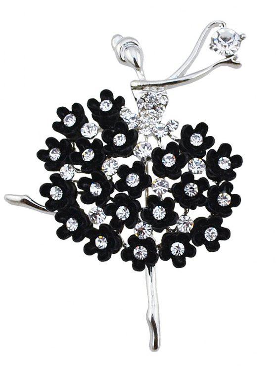 حجر الراين الرقص الجنية زهرة بروش - أسود