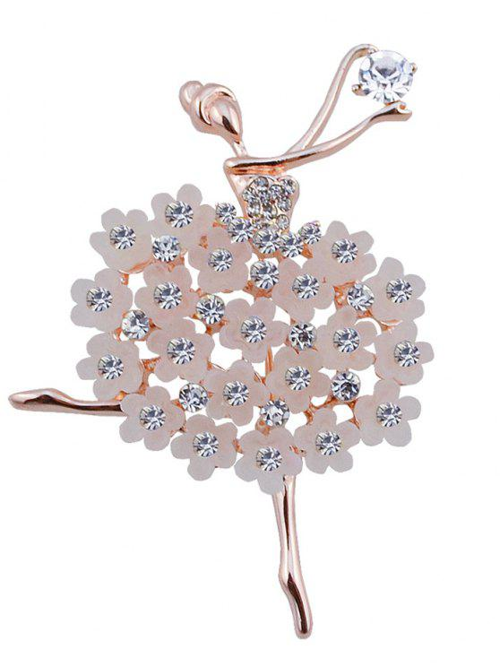 Rhinestone Dancing Fairy Flower Brooch - Branco