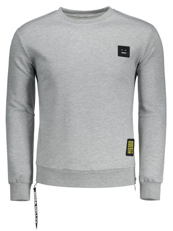 womens Side Zipper Patch Design Sweatshirt - GRAY L