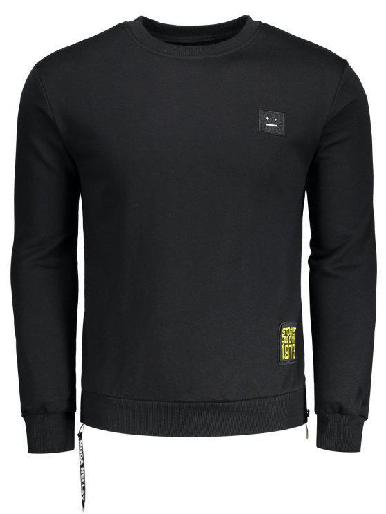 hot Side Zipper Patch Design Sweatshirt - BLACK 2XL