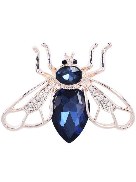 Faux Gem Cicada Shape Alloy Brooch - Azul