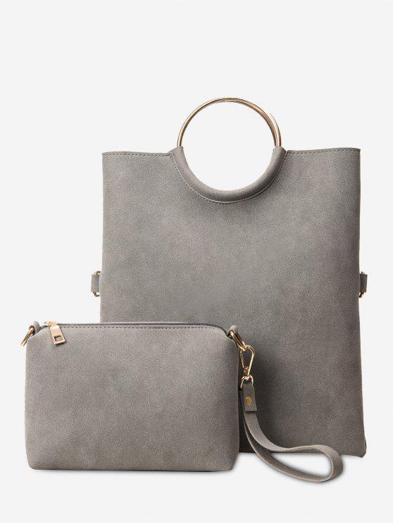 514066abb2 Fold Over 2 Pieces Handbag Set GRAY  Shoulder Bags