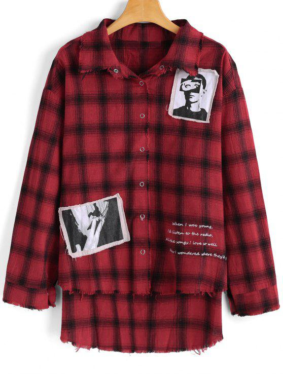 sale Checked Patches High Low Shirt - CHECKED S