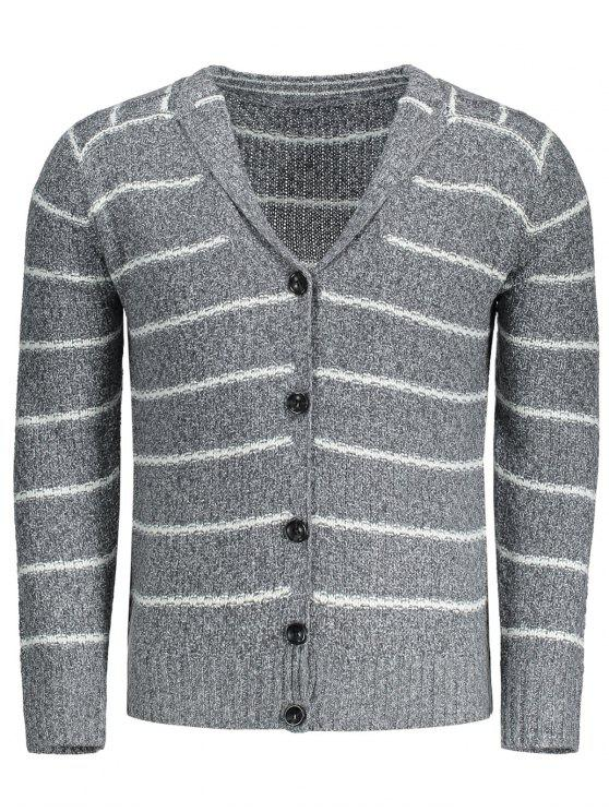 womens Shawl Collar Striped Cardigan - GRAY L