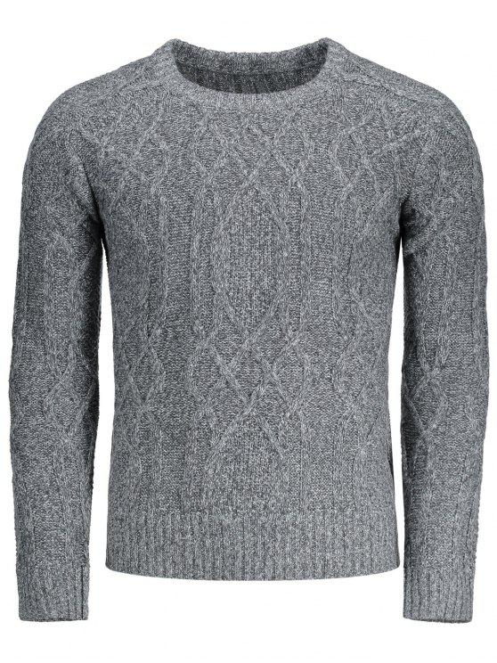 hot Textured Heathered Sweater - GRAY XL