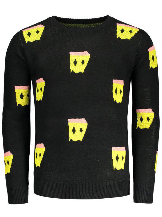 sale Crew Neck Patterned Sweater - BLACK L