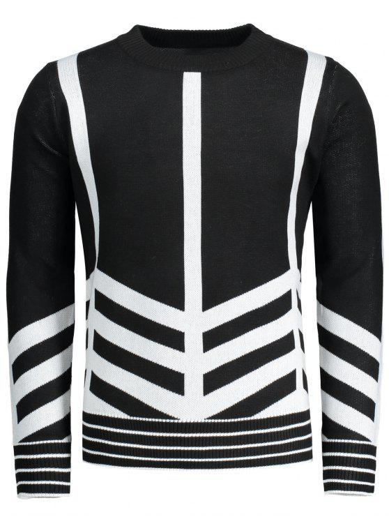 women Crew Neck Geometric Patterned Sweater - BLACK 2XL