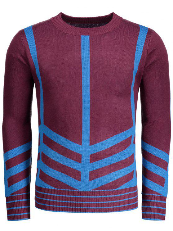 new Crew Neck Geometric Patterned Sweater - DARK RED 3XL
