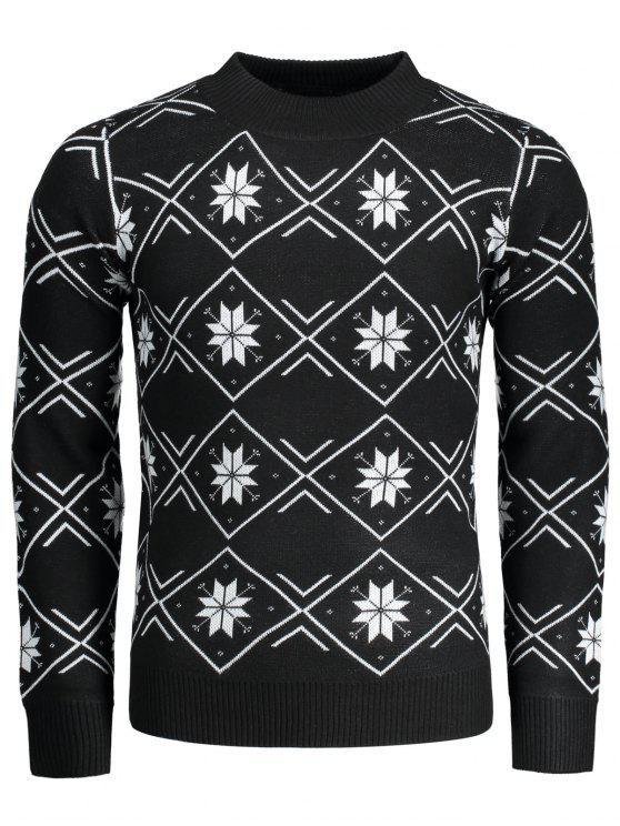 Suéter a cuadros con copos de nieve de Mock Neck - Negro 2XL