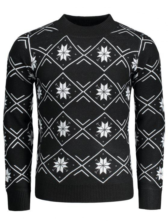 buy Mock Neck Snowflake Patterned Sweater - BLACK L