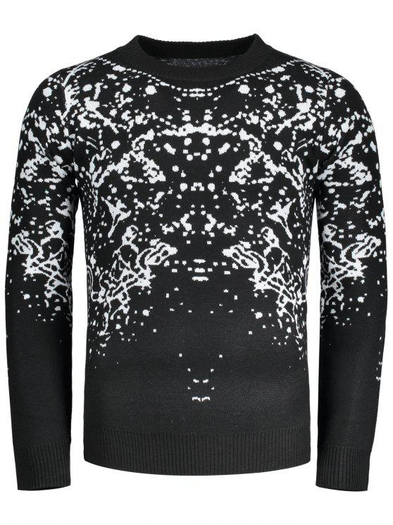 ladies Patterned Crew Neck Sweater - BLACK 2XL