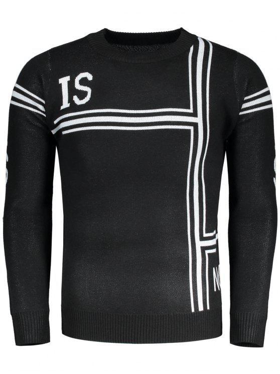 Pullover Gráfico Suéter de cuello redondo - Negro L