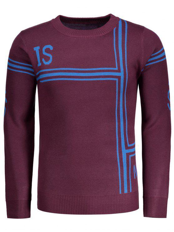 buy Graphic Pullover Crew Neck Sweater - DARK RED XL