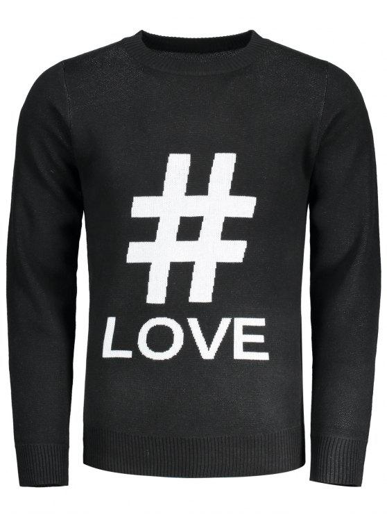 fashion Graphic Love Sweater - BLACK 2XL