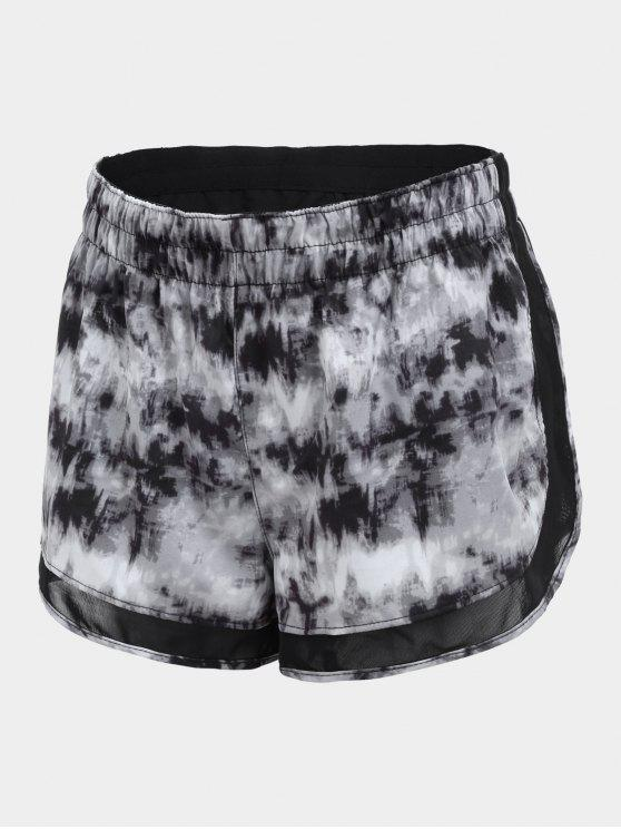 hot Overlay Drawstring Tie Dyed Sports Shorts - GRAY M