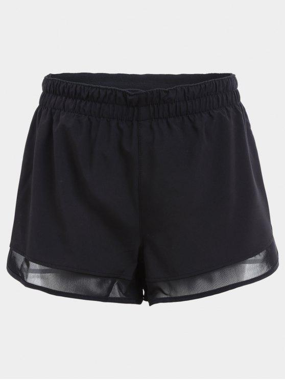 Overlay Mesh Panel Drawstring Sports Shorts - Preto L