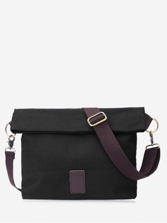 trendy Badge Canvas Crossbody Bag - BLACK