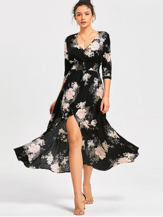 Robe Maxi Florale à Taille Empire et Fente Devant - Noir L