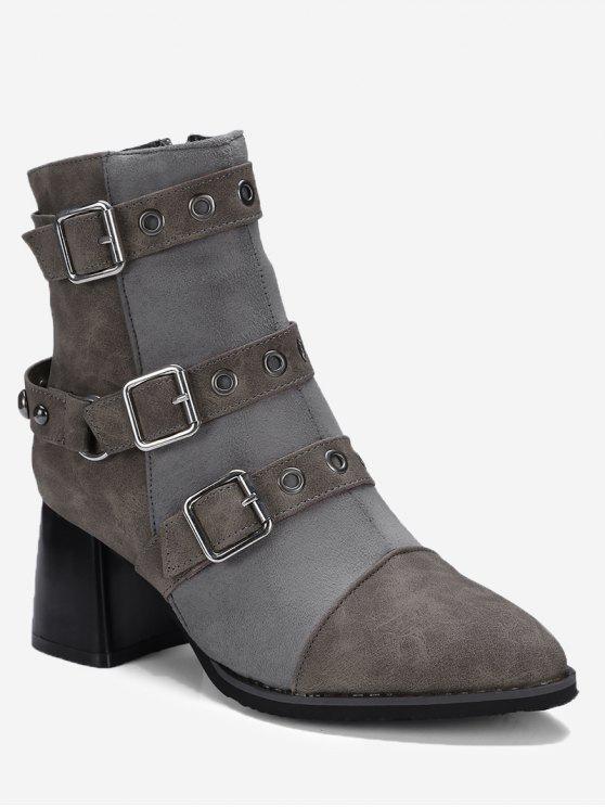 حذاء الكاحل بثلاث أحزمة ذو كعب عريض - رمادي 42
