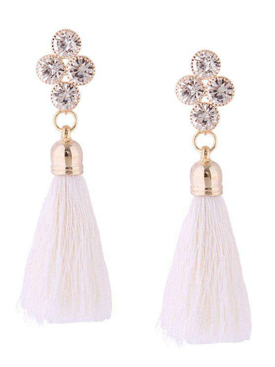 Retro Rhinestone Tassel Drop Earrings - Branco