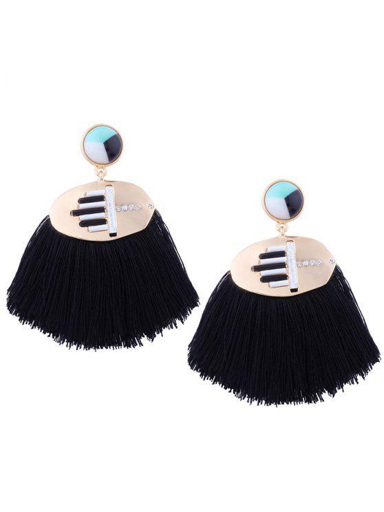 chic Statement Rhinestone Resin Tassel Earrings - BLACK